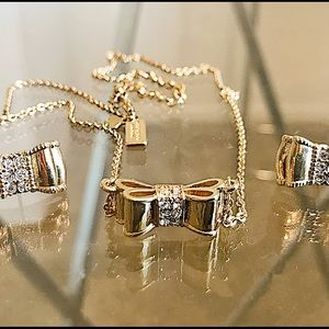 Gold Kate Spade Bow Necklace and Earring Set